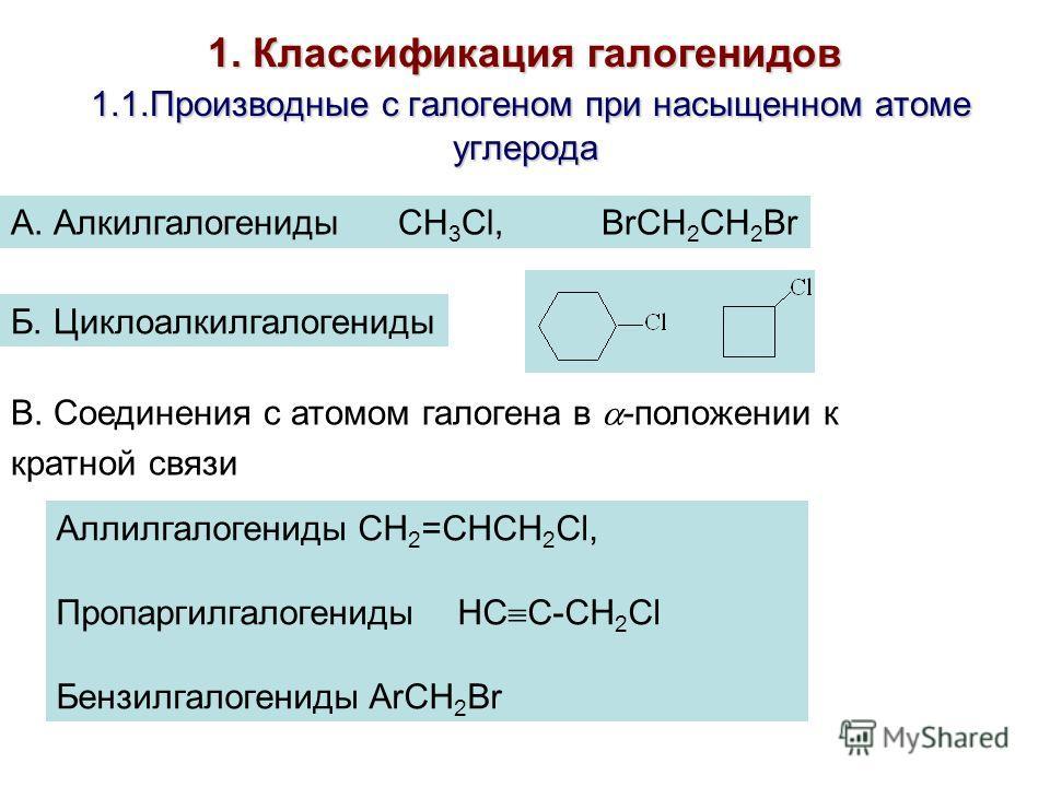 1. Классификация галогенидов 1.1.Производные с галогеном при насыщенном атоме углерода А. Алкилгалогениды CH 3 Cl, BrCH 2 CH 2 Br Б. Циклоалкилгалогениды В. Соединения с атомом галогена в -положении к кратной связи Аллилгалогениды CH 2 =CHCH 2 Cl, Пр