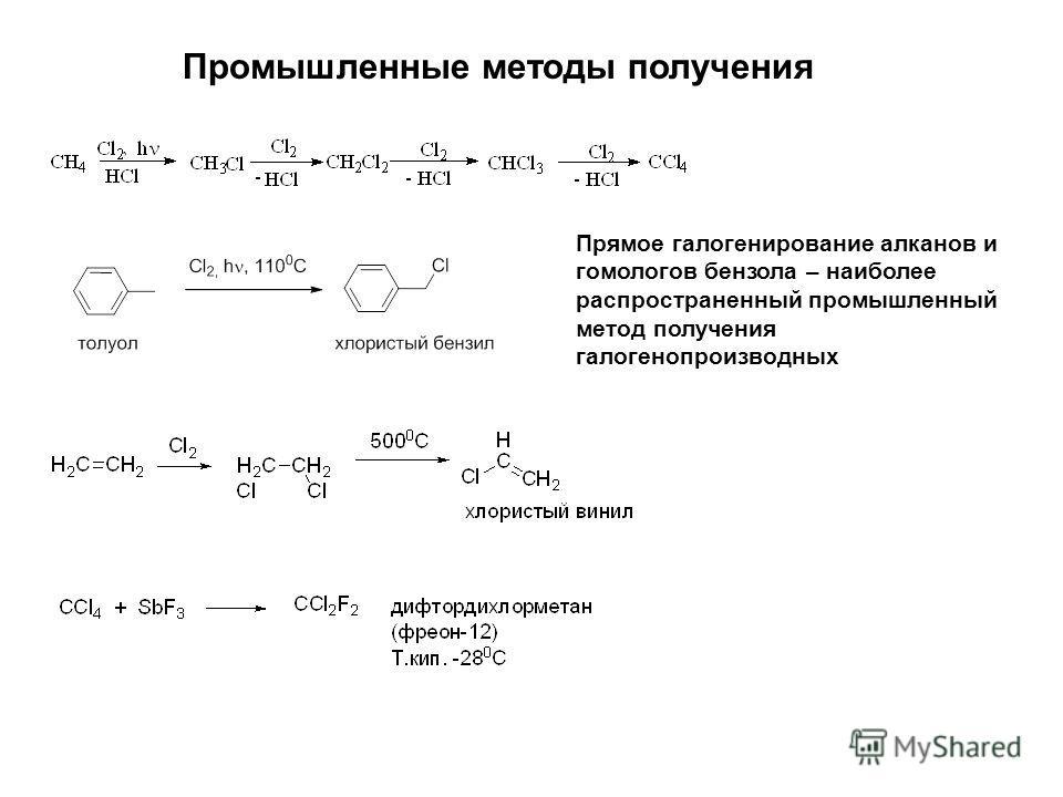Промышленные методы получения Прямое галогенирование алканов и гомологов бензола – наиболее распространенный промышленный метод получения галогенопроизводных