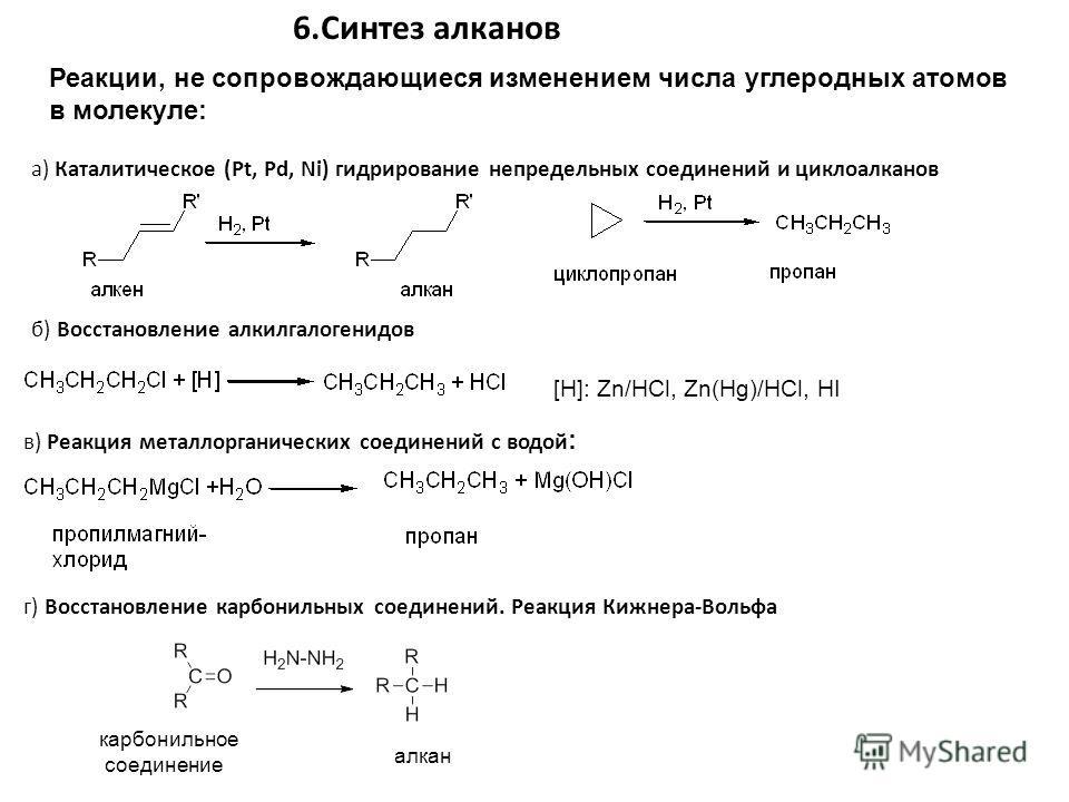 а) Каталитическое (Pt, Pd, Ni) гидрирование непредельных соединений и циклоалканов 6.Синтез алканов Реакции, не сопровождающиеся изменением числа углеродных атомов в молекуле: б) Восстановление алкилгалогенидов в) Реакция металлорганических соединени