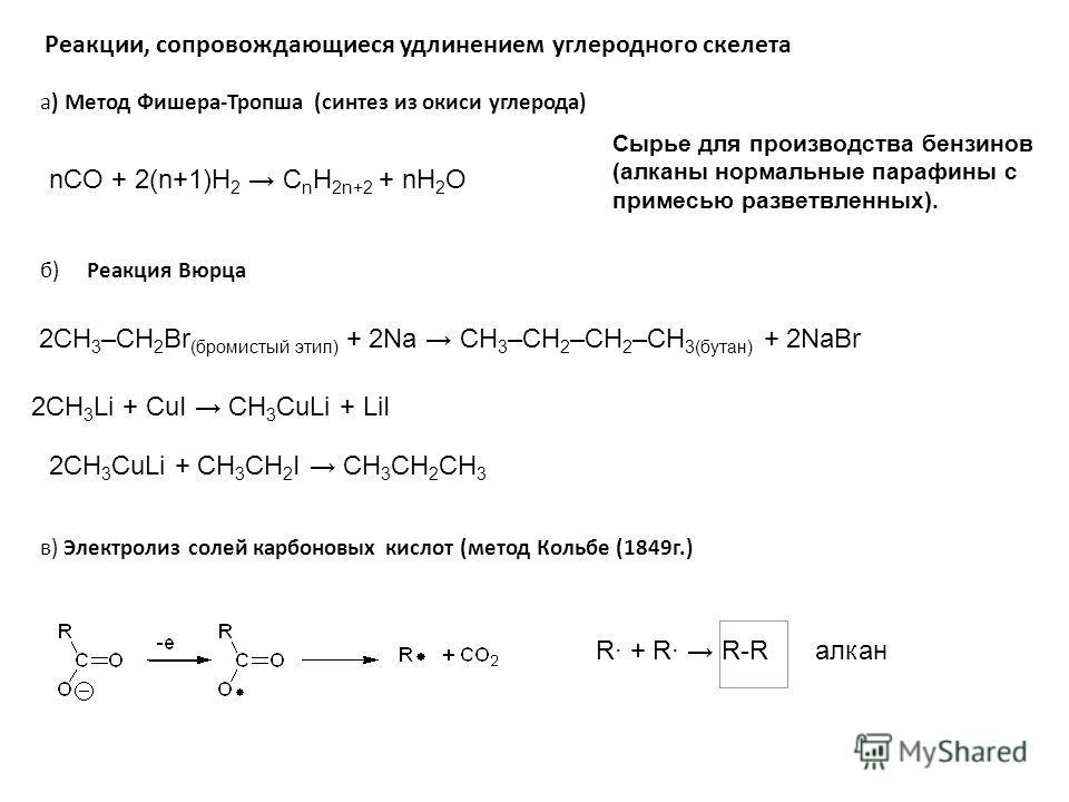 Реакции, сопровождающиеся удлинением углеродного скелета в) Электролиз солей карбоновых кислот (метод Кольбе (1849г.) б) Реакция Вюрца 2CH 3 –CH 2 Br (бромистый этил) + 2Na CH 3 –CH 2 –CH 2 –CH 3(бутан) + 2NaBr а) Метод Фишера-Тропша (синтез из окиси