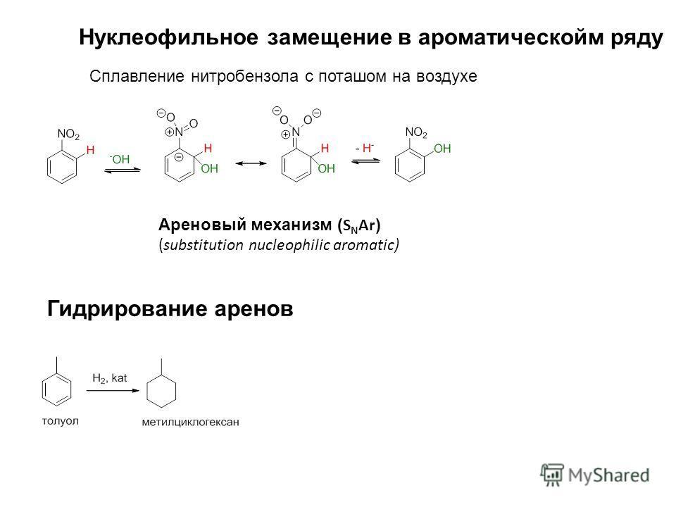 Ареновый механизм ( S N Ar ) (substitution nucleophilic aromatic) Нуклеофильное замещение в ароматическойм ряду Сплавление нитробензола с поташом на воздухе Гидрирование аренов