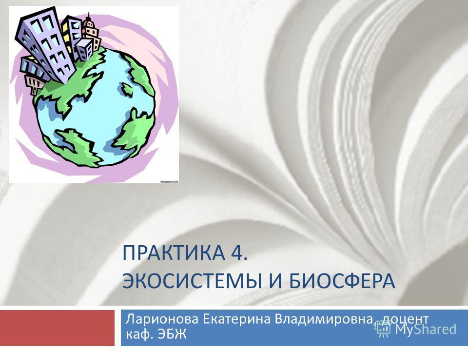 ПРАКТИКА 4. ЭКОСИСТЕМЫ И БИОСФЕРА Ларионова Екатерина Владимировна, доцент каф. ЭБЖ