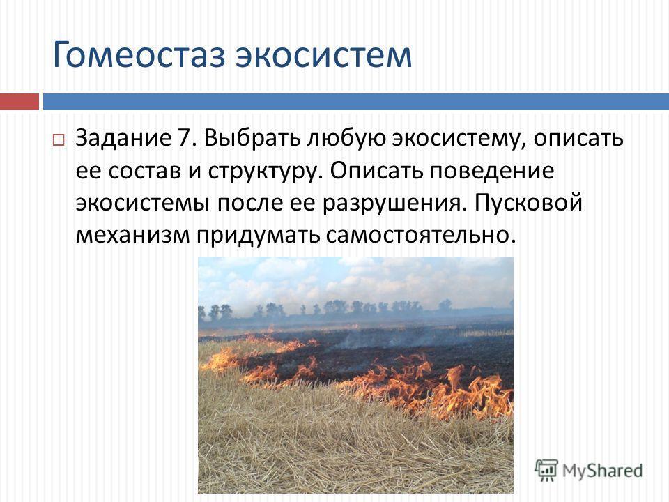 Гомеостаз экосистем Задание 7. Выбрать любую экосистему, описать ее состав и структуру. Описать поведение экосистемы после ее разрушения. Пусковой механизм придумать самостоятельно.