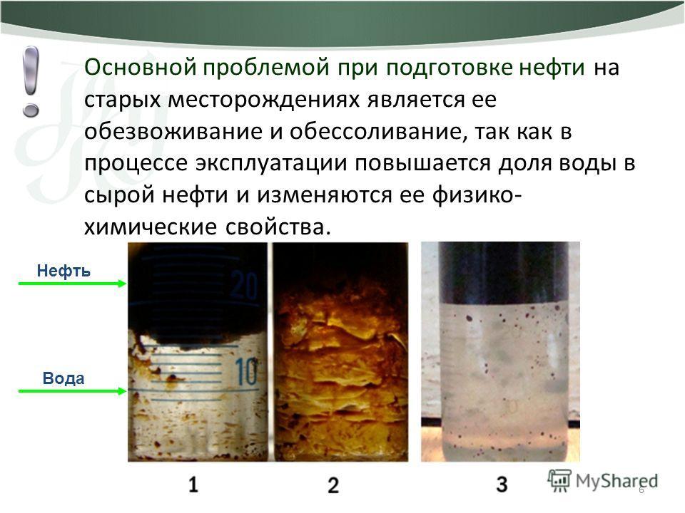 6 Основной проблемой при подготовке нефти на старых месторождениях является ее обезвоживание и обессоливание, так как в процессе эксплуатации повышается доля воды в сырой нефти и изменяются ее физико- химические свойства. Нефть Вода