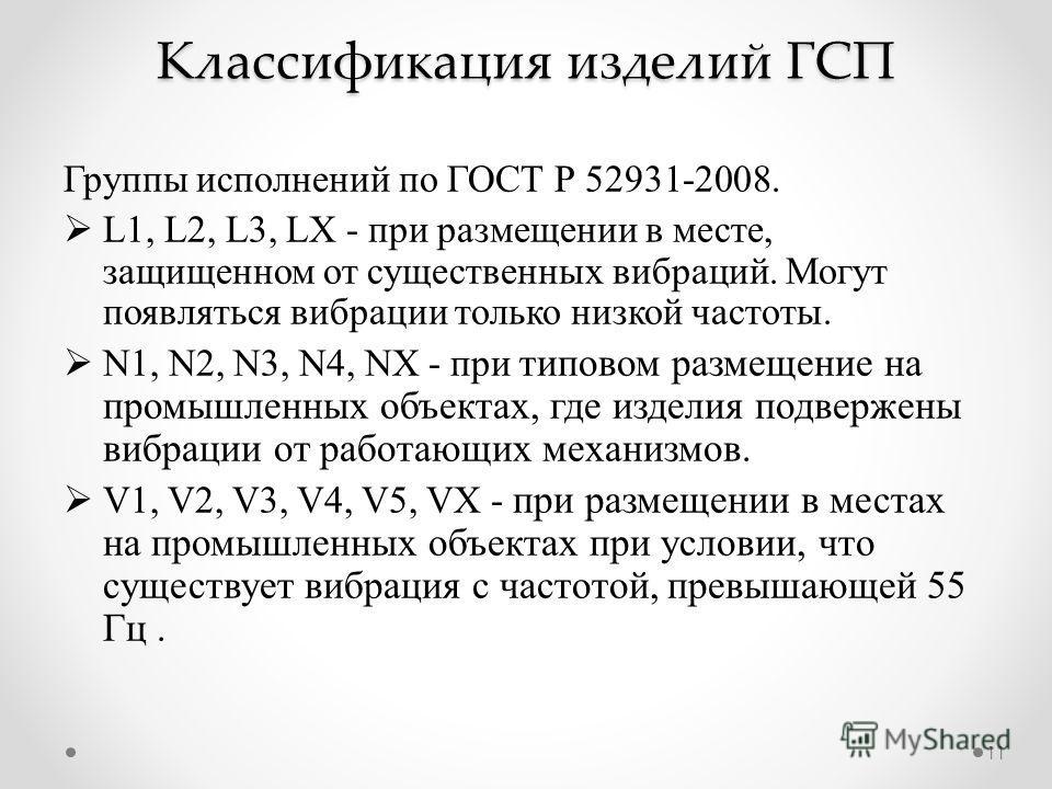 Классификация изделий ГСП Группы исполнений по ГОСТ Р 52931-2008. L1, L2, L3, LX - при размещении в месте, защищенном от существенных вибраций. Могут появляться вибрации только низкой частоты. N1, N2, N3, N4, NX - при типовом размещение на промышленн