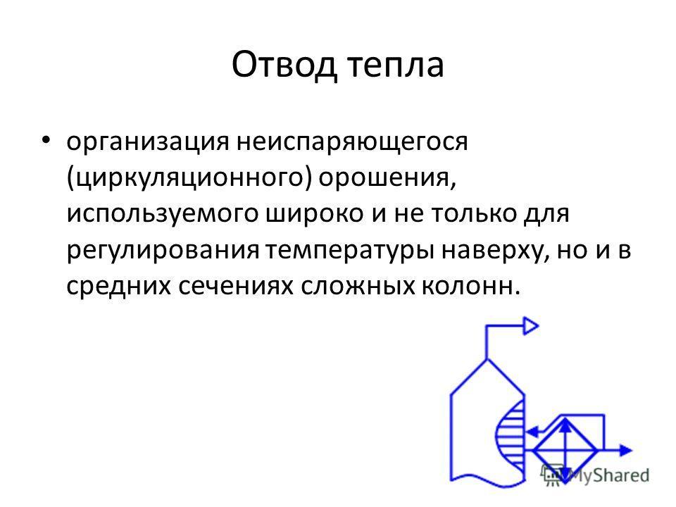 Отвод тепла организация неиспаряющегося (циркуляционного) орошения, используемого широко и не только для регулирования температуры наверху, но и в средних сечениях сложных колонн.