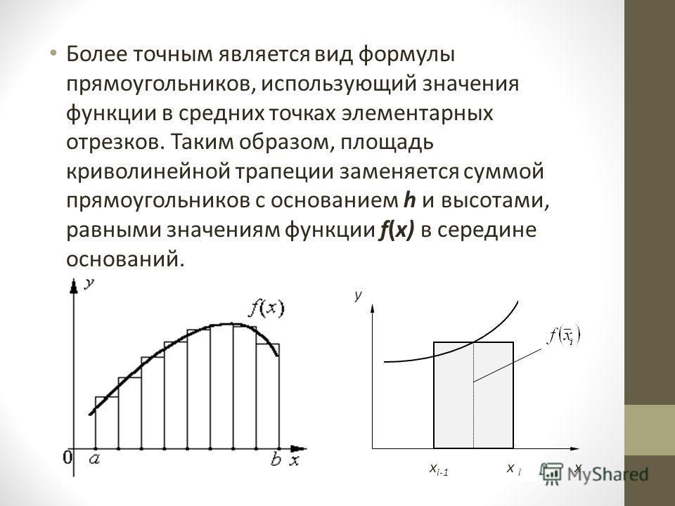 Более точным является вид формулы прямоугольников, использующий значения функции в средних точках элементарных отрезков. Таким образом, площадь криволинейной трапеции заменяется суммой прямоугольников с основанием h и высотами, равными значениям функ