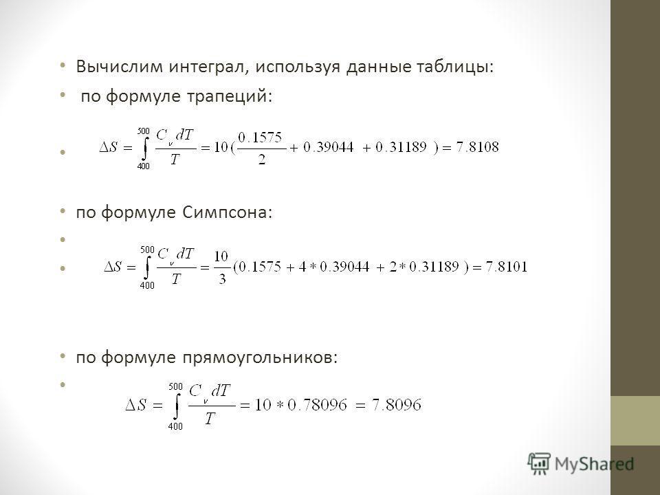 Вычислим интеграл, используя данные таблицы: по формуле трапеций: по формуле Симпсона: по формуле прямоугольников: