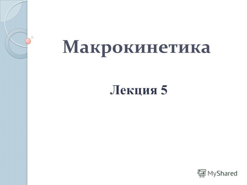 Макрокинетика Лекция 5
