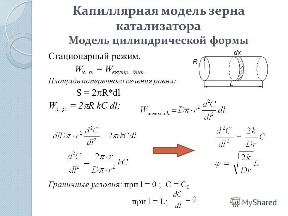 Капиллярная модель зерна катализатора Модель цилиндрической формы Стационарный режим. W х. р. = W внутр. диф. Площадь поперечного сечения равна: S = 2 R*dl W х. р. = 2 R kC dl; Граничные условия: при l = 0 ; C = C 0 при l = L;