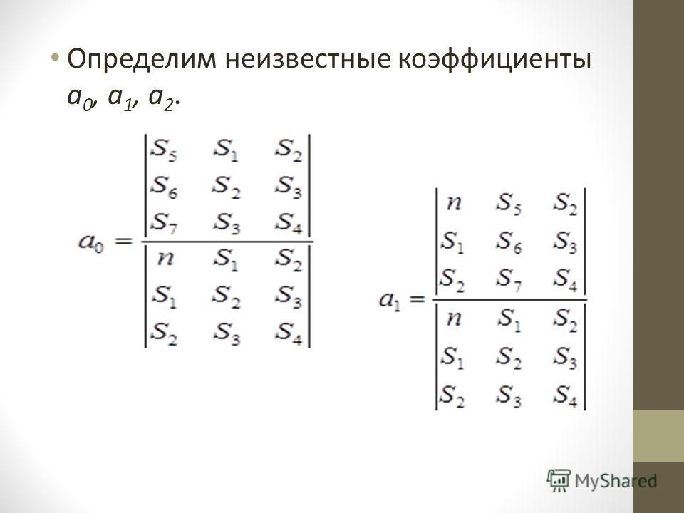 Определим неизвестные коэффициенты a 0, a 1, a 2.