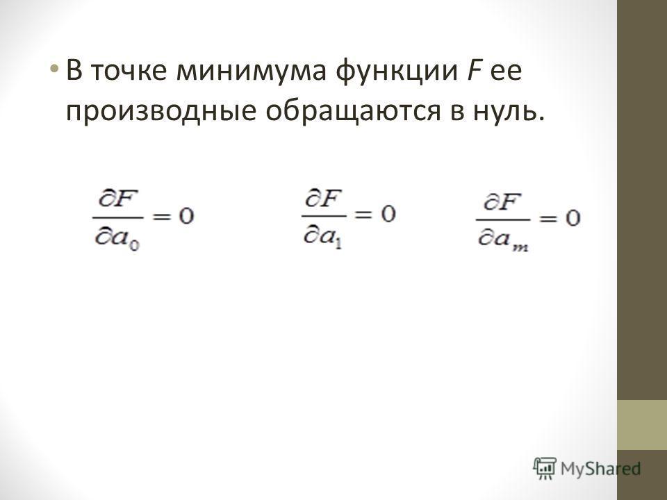 В точке минимума функции F ее производные обращаются в нуль.