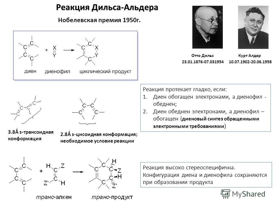 Реакция Дильса-Альдера Нобелевская премия 1950г. 2.8Ǻ s-цисоидная конформация; необходимое условие реакции 3.8Ǻ s-трансоидная конформация Отто Дильс 23.01.1876-07.031954 Курт Алдер 10.07.1902-20.06.1958 Реакция высоко стереоспецифична. Конфигурация д