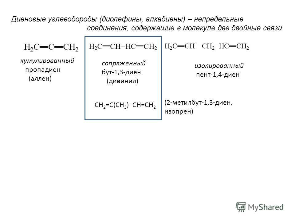 кумулированный пропадиен (аллен) сопряженный бут-1,3-диен (дивинил) изолированный пент-1,4-диен Диеновые углеводороды (диолефины, алкадиены) – непредельные соединения, содержащие в молекуле две двойные связи СН 2 =С(СН 3 )–СН=СН 2 (2-метилбут-1,3-дие