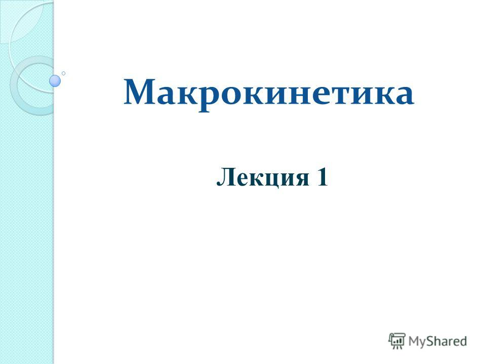 Макрокинетика Лекция 1