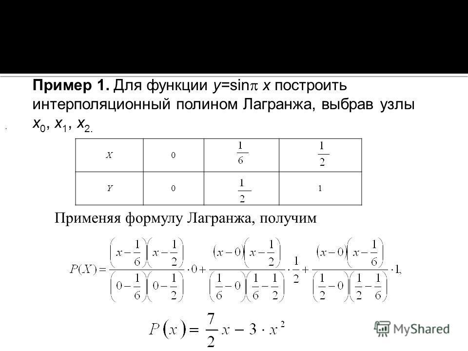 X0 Y01 Пример 1. Для функции y=sin x построить интерполяционный полином Лагранжа, выбрав узлы x 0, x 1, x 2. Применяя формулу Лагранжа, получим.