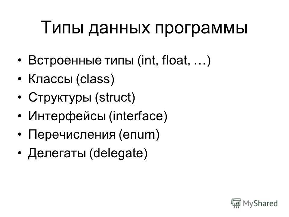 Типы данных программы Встроенные типы (int, float, …) Классы (class) Структуры (struct) Интерфейсы (interface) Перечисления (enum) Делегаты (delegate)