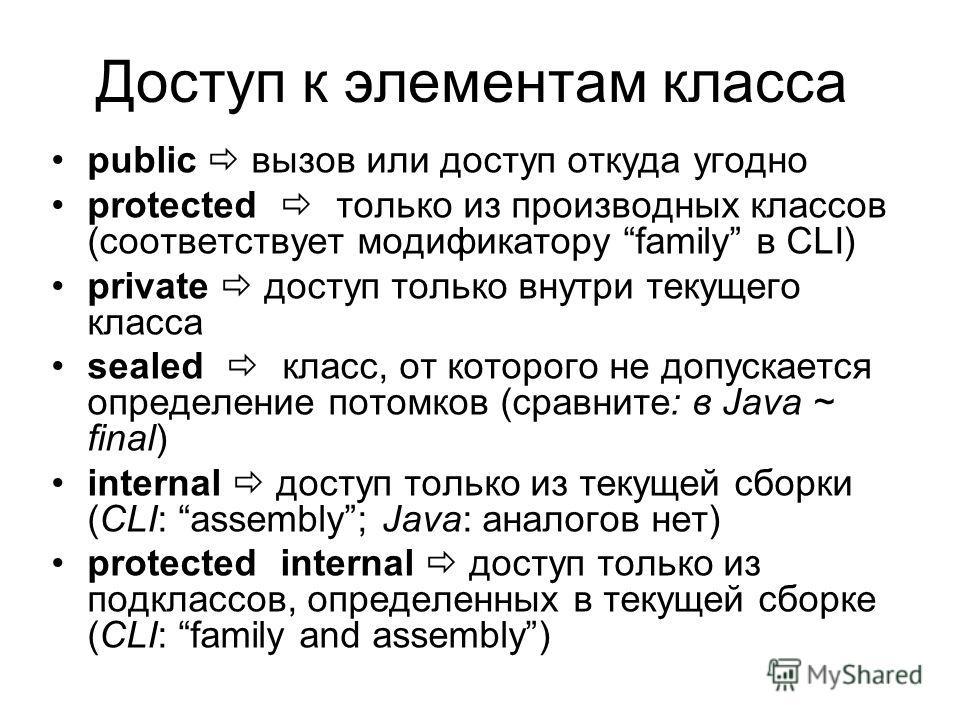 Доступ к элементам класса public вызов или доступ откуда угодно protected только из производных классов (соответствует модификатору family в CLI) private доступ только внутри текущего класса sealed класс, от которого не допускается определение потомк