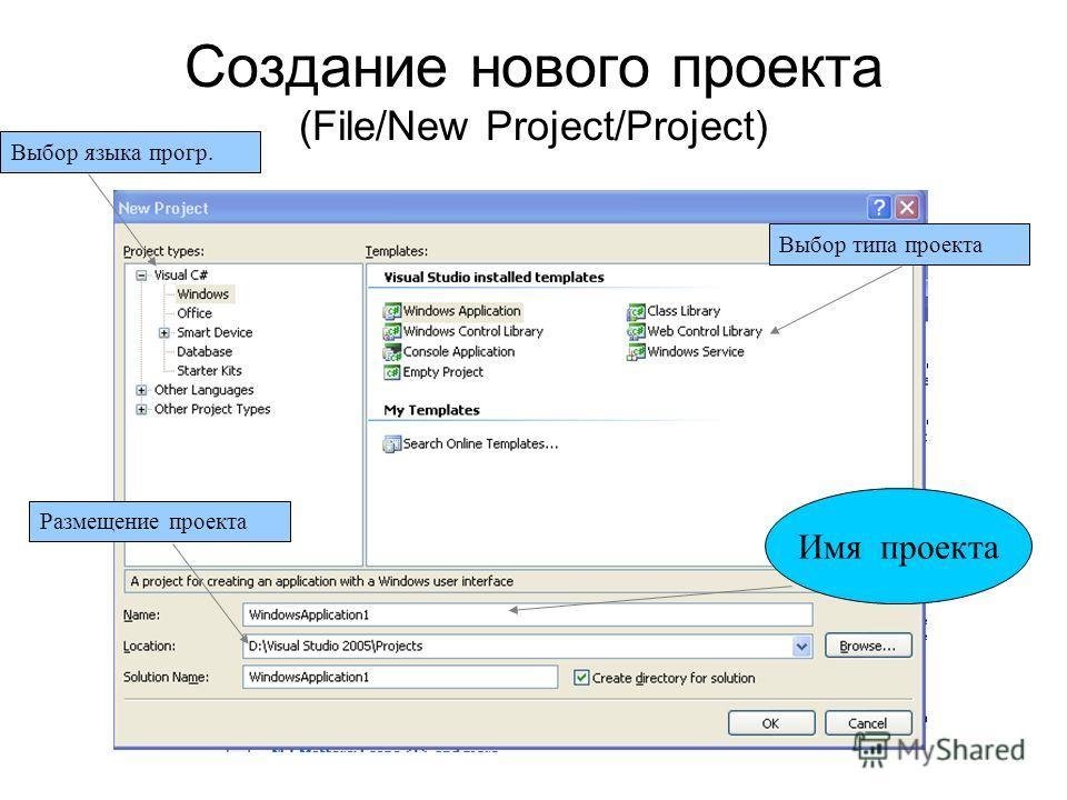 Создание нового проекта (File/New Project/Project) Имя проекта Выбор языка прогр. Выбор типа проекта Размещение проекта