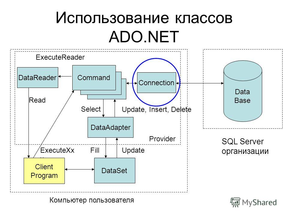 ExecuteXx x Использование классов ADO.NET Data Base SQL Server организации Connection DataReader DataAdapter DataSet Command FillUpdate Update, Insert, Delete Client Program Компьютер пользователя ExecuteReader Read Provider Select