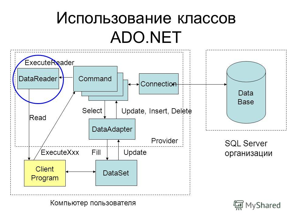 ExecuteXxx Использование классов ADO.NET Data Base SQL Server организации Connection DataReader DataAdapter DataSet Command FillUpdate Update, Insert, Delete Client Program Компьютер пользователя ExecuteReader Read Provider Select