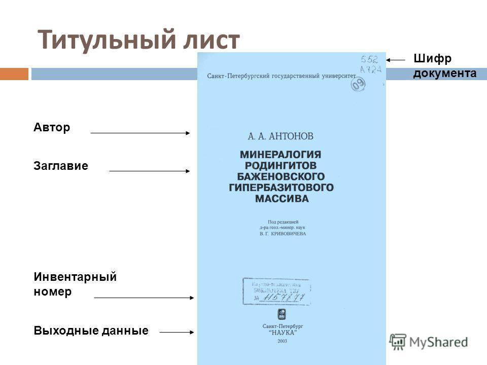Титульный лист Автор Заглавие Инвентарный номер Выходные данные Шифр документа