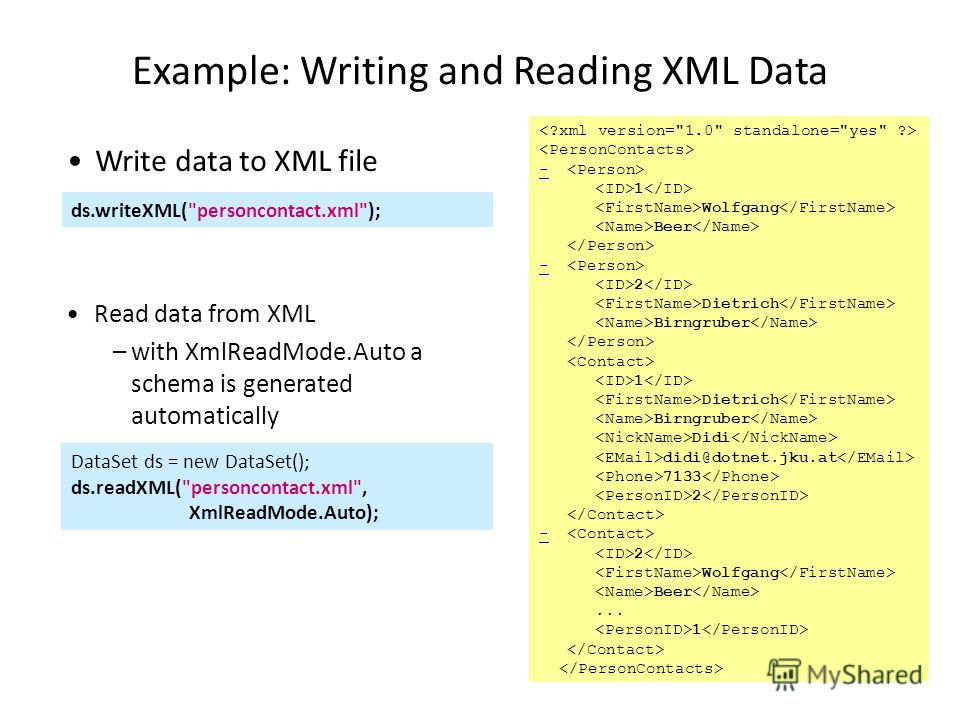 Example: Writing and Reading XML Data - 1 Wolfgang Beer - 2 Dietrich Birngruber 1 Dietrich Birngruber Didi didi@dotnet.jku.at 7133 2 - 2 Wolfgang Beer... 1 ds.writeXML(
