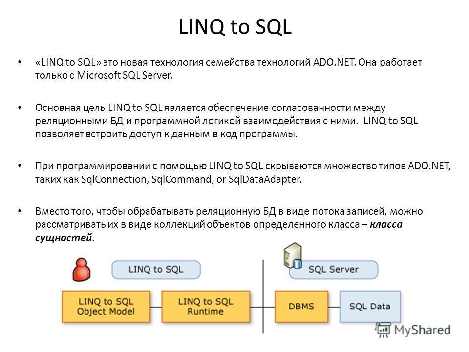 LINQ to SQL «LINQ to SQL» это новая технология семейства технологий ADO.NET. Она работает только с Microsoft SQL Server. Основная цель LINQ to SQL является обеспечение согласованности между реляционными БД и программной логикой взаимодействия с ними.