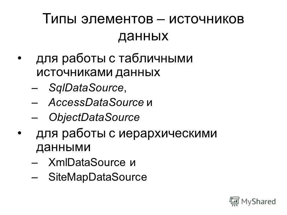Типы элементов – источников данных для работы с табличными источниками данных –SqlDataSource, –AccessDataSource и –ObjectDataSource для работы с иерархическими данными –XmlDataSource и –SiteMapDataSource