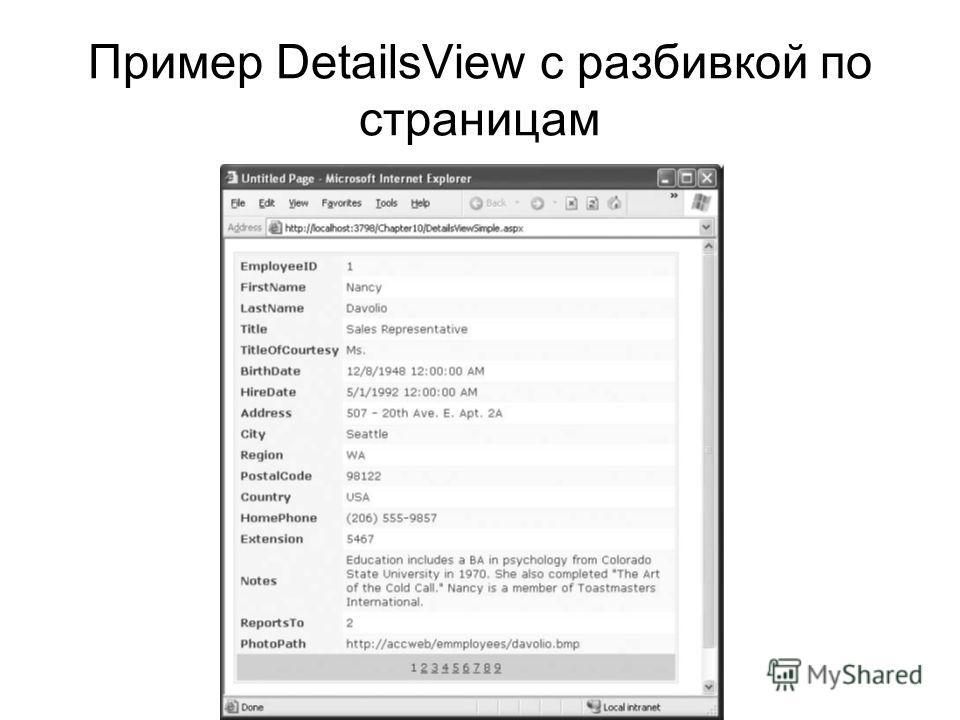 Пример DetailsView с разбивкой по страницам
