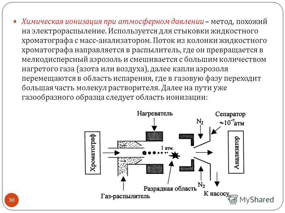Химическая ионизация при атмосферном давлении – метод, похожий на электрораспыление. Используется для стыковки жидкостного хроматографа с масс - анализатором. Поток из колонки жидкостного хроматографа направляется в распылитель, где он превращается в