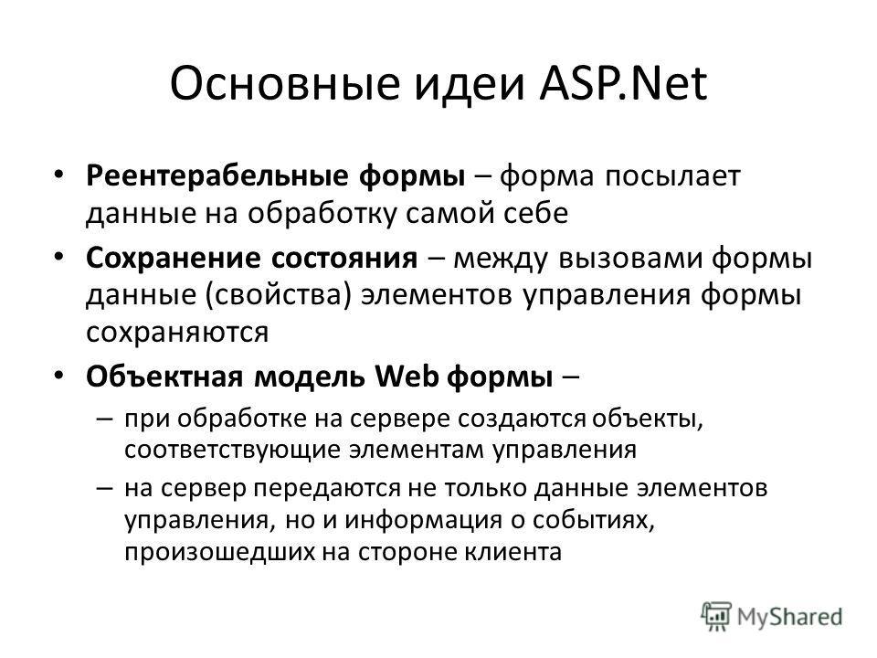 Основные идеи ASP.Net Реентерабельные формы – форма посылает данные на обработку самой себе Сохранение состояния – между вызовами формы данные (свойства) элементов управления формы сохраняются Объектная модель Web формы – – при обработке на сервере с