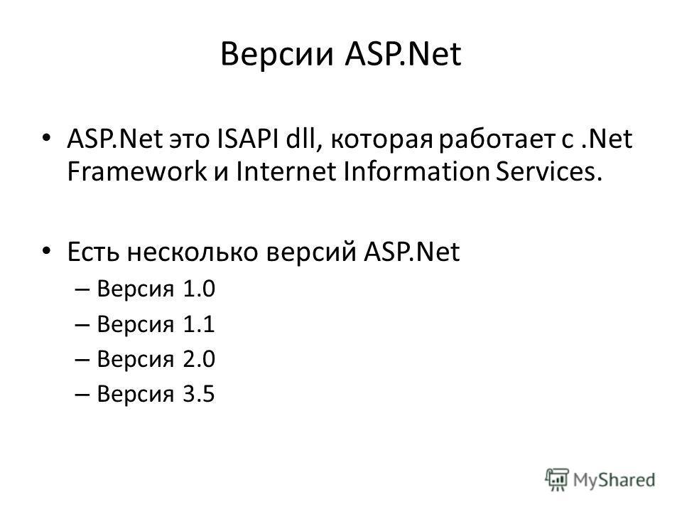 Версии ASP.Net ASP.Net это ISAPI dll, которая работает с.Net Framework и Internet Information Services. Есть несколько версий ASP.Net – Версия 1.0 – Версия 1.1 – Версия 2.0 – Версия 3.5