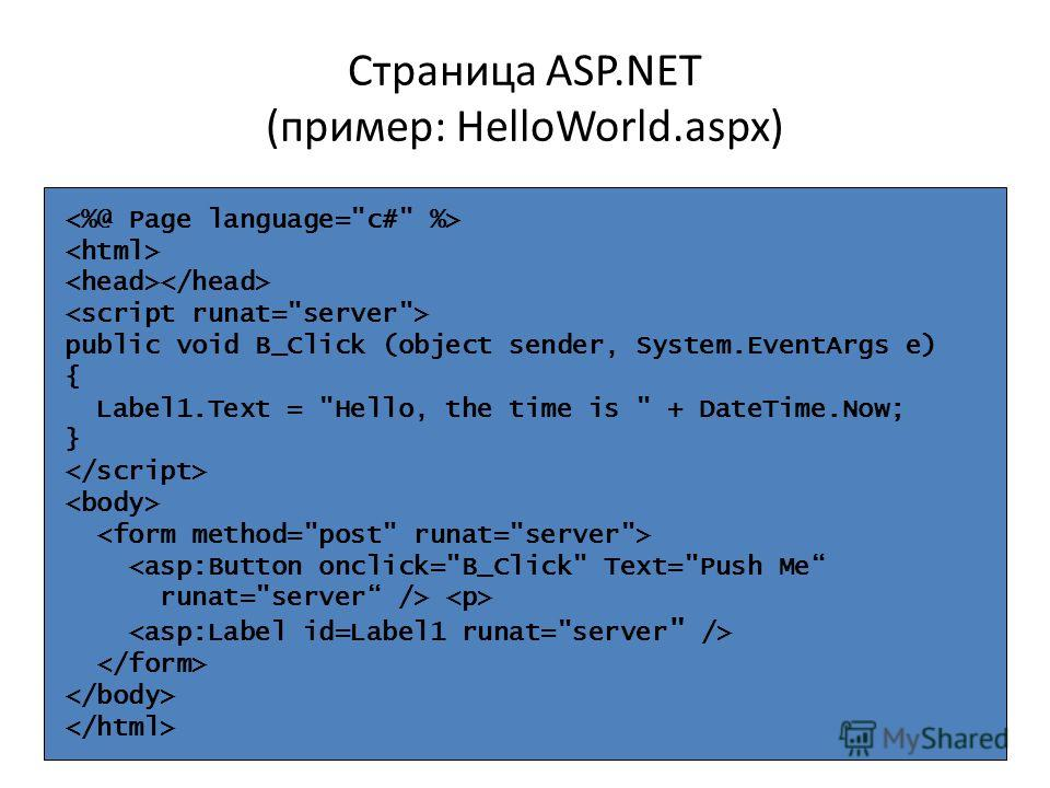 Страница ASP.NET (пример: HelloWorld.aspx) public void B_Click (object sender, System.EventArgs e) { Label1.Text = Hello, the time is  + DateTime.Now; }