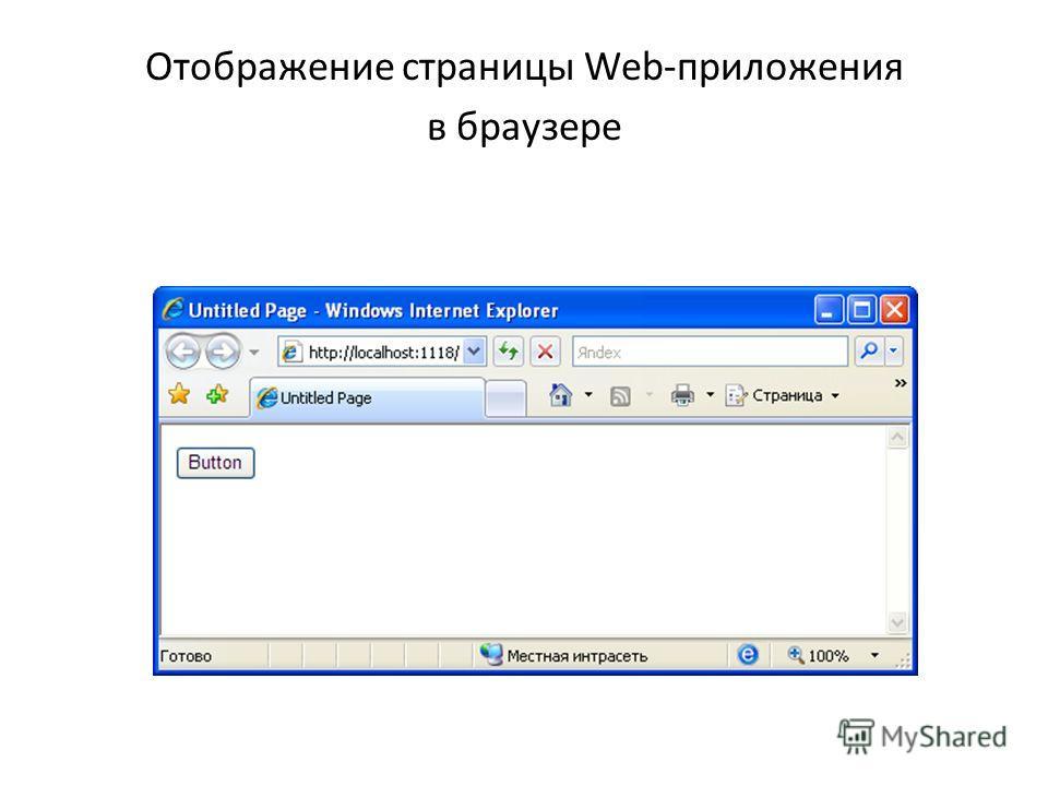 Отображение страницы Web-приложения в браузере