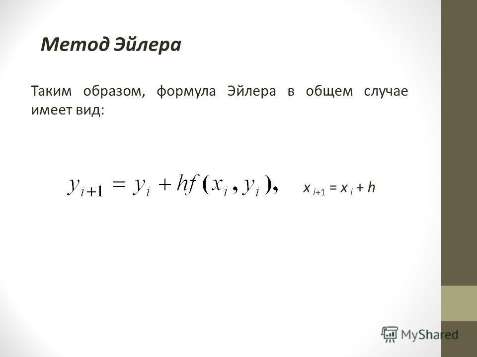 Метод Эйлера Таким образом, формула Эйлера в общем случае имеет вид: x i+1 = x i + h