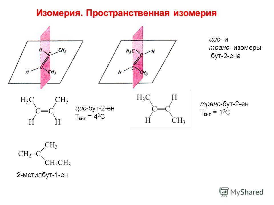 цис- и транс- изомеры бут-2-ена цис-бут-2-ен Т кип = 4 0 С транс-бут-2-ен Т кип = 1 0 С 2-метилбут-1-ен Изомерия. Пространственная изомерия