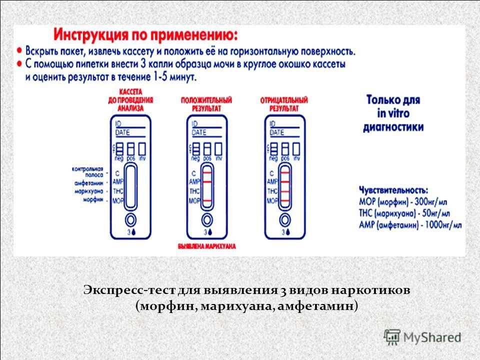 Экспресс-тест для выявления 3 видов наркотиков (морфин, марихуана, амфетамин)