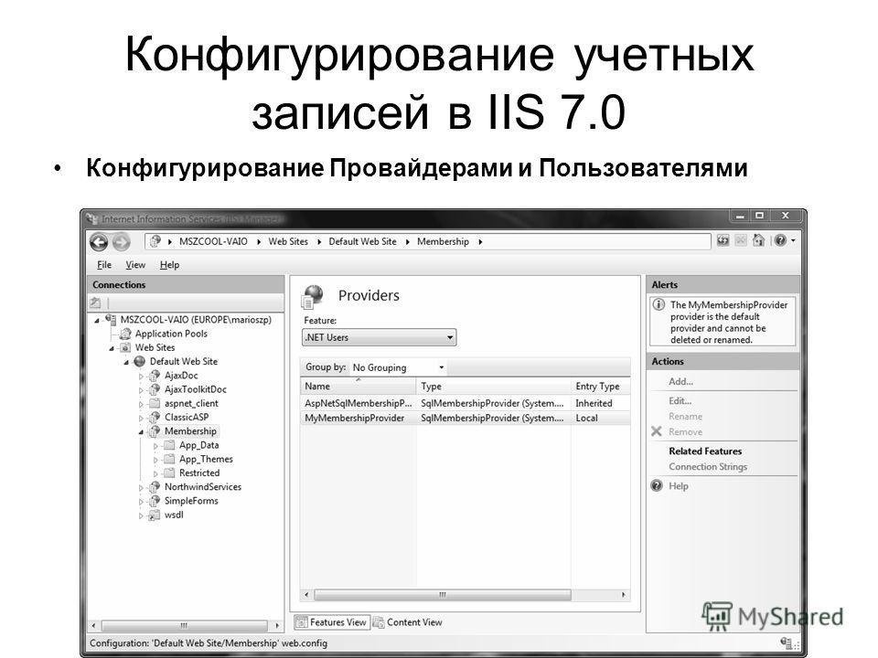 Конфигурирование учетных записей в IIS 7.0 Конфигурирование Провайдерами и Пользователями