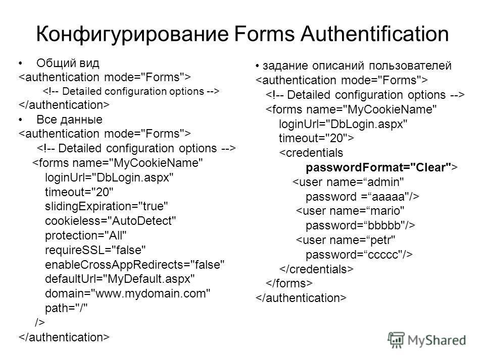 Конфигурирование Forms Authentification Общий вид Все данные  задание описаний пользователей