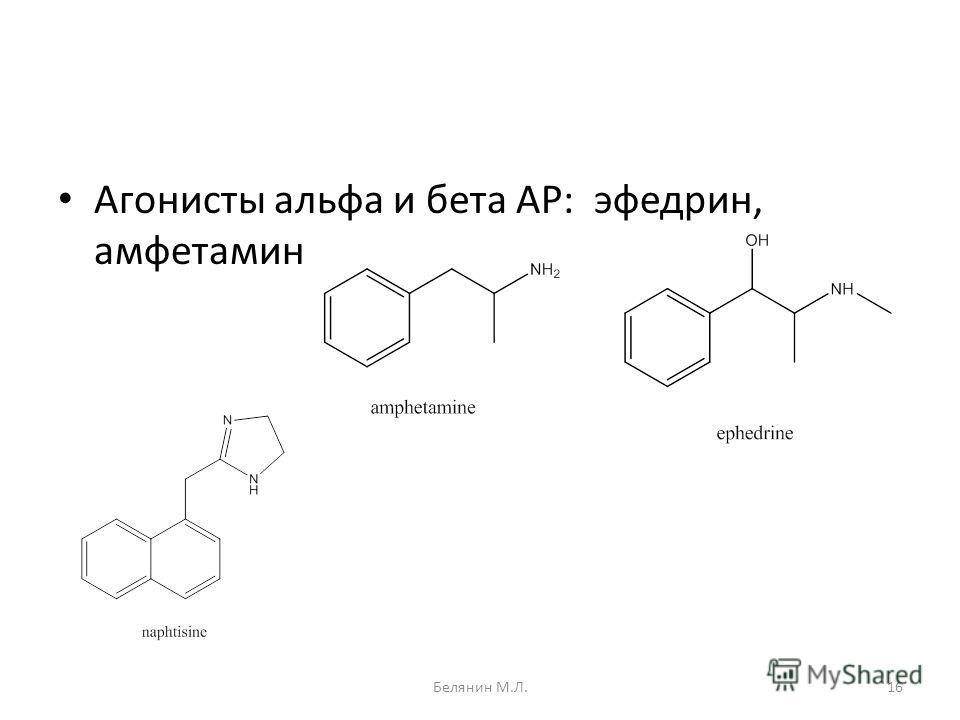 Агонисты альфа и бета АР: эфедрин, амфетамин 16Белянин М.Л.