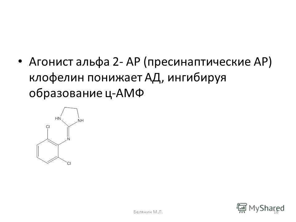 Агонист альфа 2- АР (пресинаптические АР) клофелин понижает АД, ингибируя образование ц-АМФ 18Белянин М.Л.