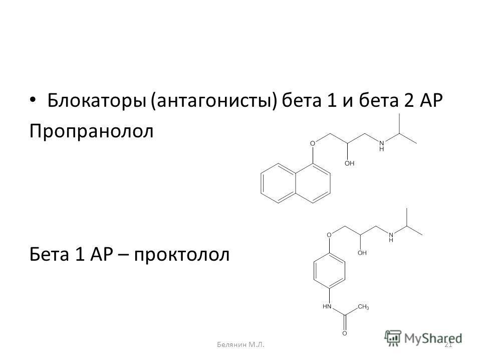 Блокаторы (антагонисты) бета 1 и бета 2 АР Пропранолол Бета 1 АР – проктолол 21Белянин М.Л.