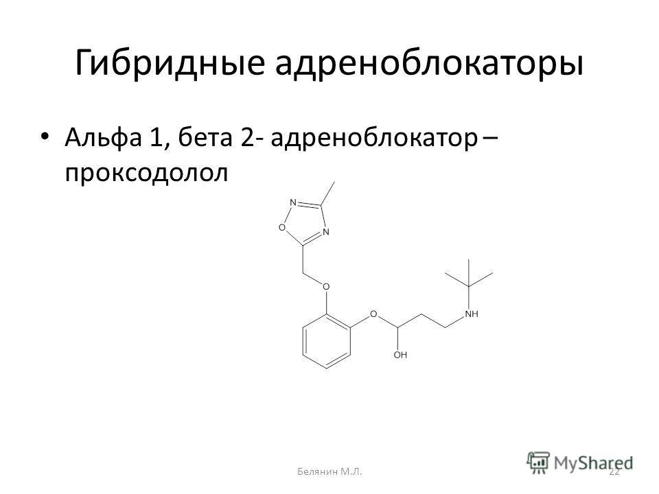 Гибридные адреноблокаторы Альфа 1, бета 2- адреноблокатор – проксодолол 22Белянин М.Л.