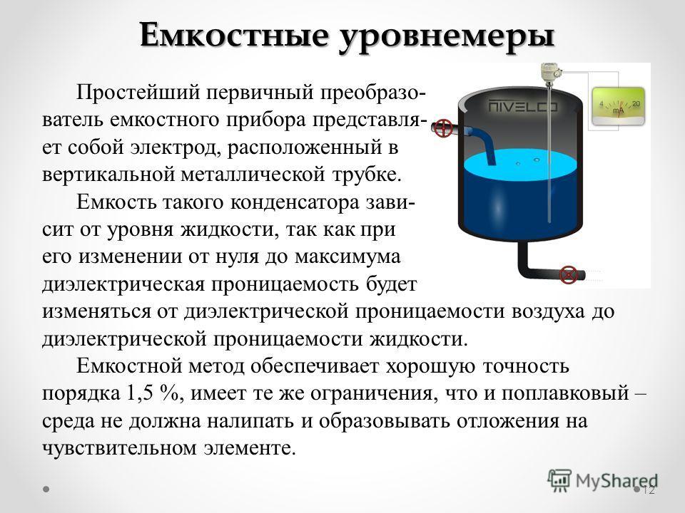12 Емкостные уровнемеры Простейший первичный преобразо- ватель емкостного прибора представля- ет собой электрод, расположенный в вертикальной металлической трубке. Емкость такого конденсатора зави- сит от уровня жидкости, так как при его изменении от
