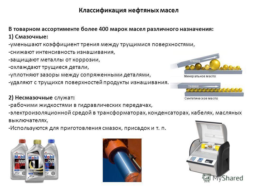 Классификация нефтяных масел В товарном ассортименте более 400 марок масел различного назначения: 1) Смазочные: -уменьшают коэффициент трения между трущимися поверхностями, -снижают интенсивность изнашивания, -защищают металлы от коррозии, -охлаждают