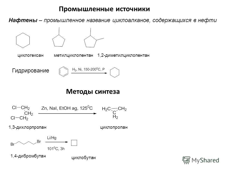 Промышленные источники Нафтены – промышленное название циклоалканов, содержащихся в нефти циклогексан метилциклопентан 1,2-диметилциклопентан Гидрирование Методы синтеза 1,3-дихлорпропанциклопропан 1,4-дибромбутан циклобутан