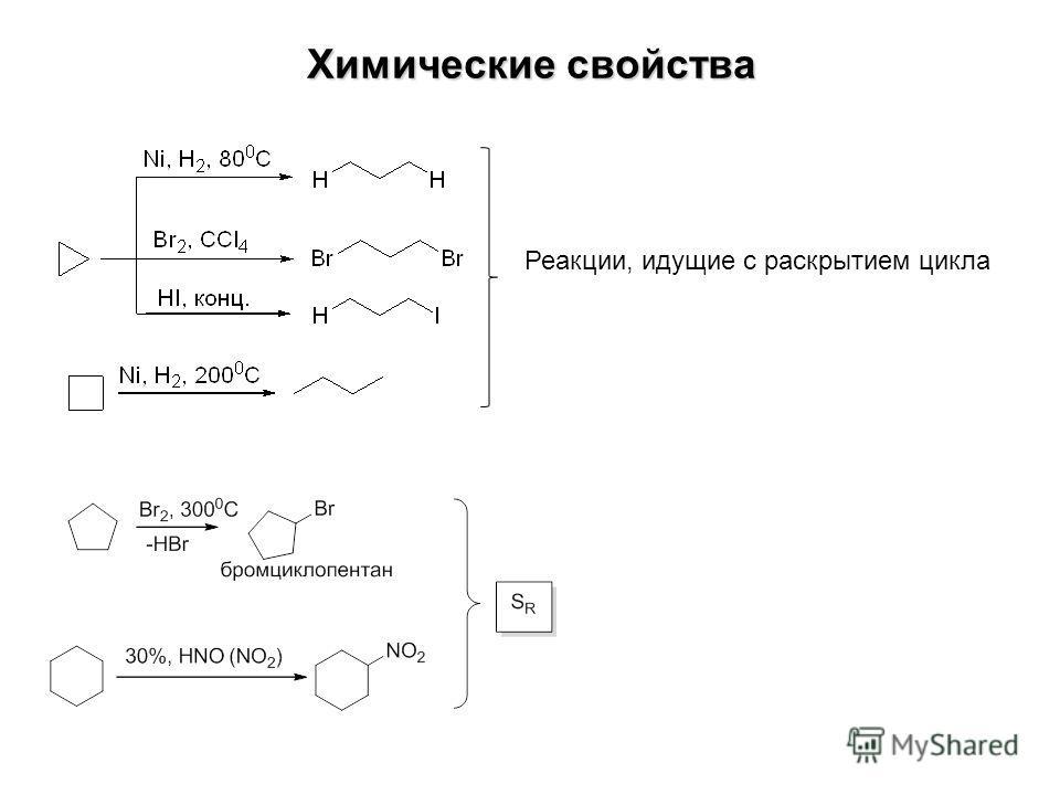 Химические свойства Реакции, идущие с раскрытием цикла
