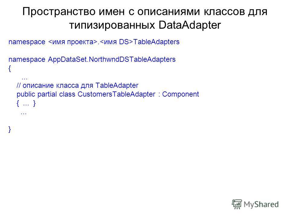 Пространство имен с описаниями классов для типизированных DataAdapter namespace. TableAdapters namespace AppDataSet.NorthwndDSTableAdapters {... // описание класса для TableAdapter public partial class CustomersTableAdapter : Component {... }... }