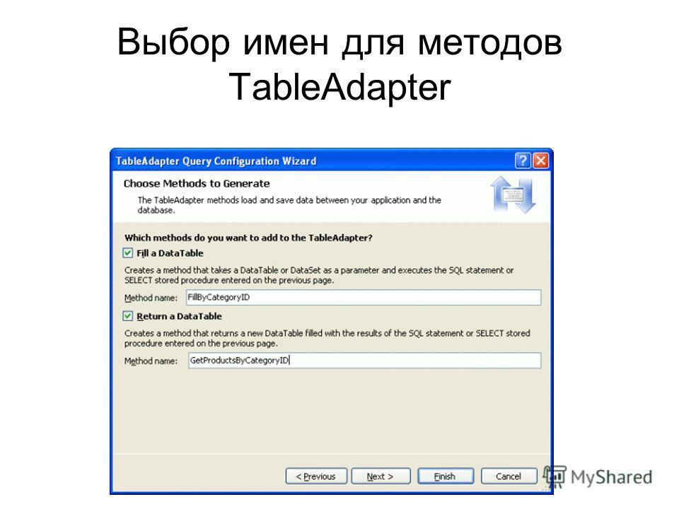 Выбор имен для методов TableAdapter